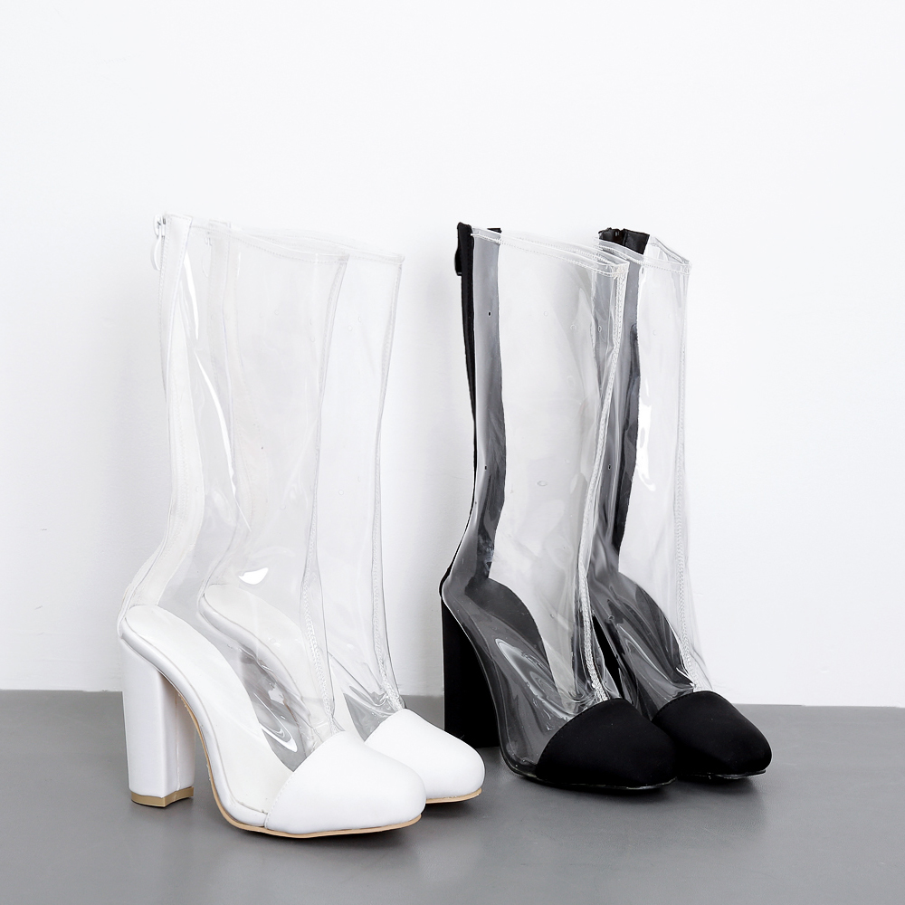 Women PVC Clear Boots 10 cm Heel Lace Up Pointed Toe Transparent Mid-calf Booties Zip Back Size 35-40 Black White black front lace up a line mini skirt with back zip