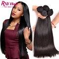 Indiano cabelo virgem reta 4 pacotes cabelo liso rxy cabelo indiano cru não processado virgem grau 8a feixes de cabelo humano em linha reta