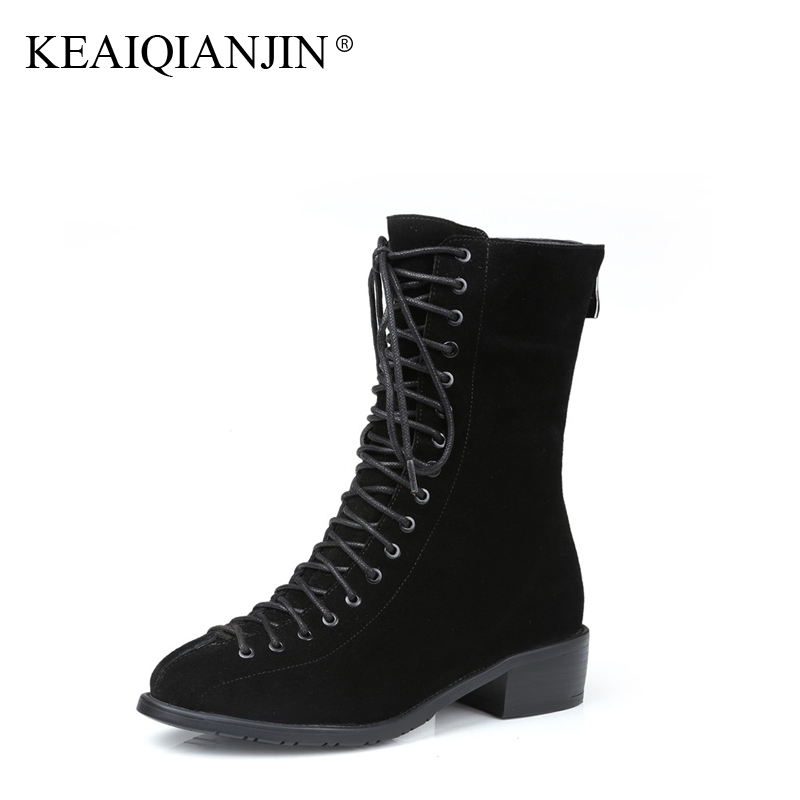 KEAIQIANJIN Woman Lace Up Martens Boots Plus Size 33 - 43 Autumn Winter Shoes Black Brown Genuine Leather Ankle Boots Plush 2017 keaiqianjin woman genuine leather martens boots black beige plus size 33 43 autumn winter shoes genuine leather ankle boots
