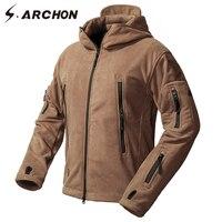 S ARCHON Winter Windproof Military Fleece Jackets Men Warm Thicken Windbreaker Tactical Jacket Coat Hooded Thermal