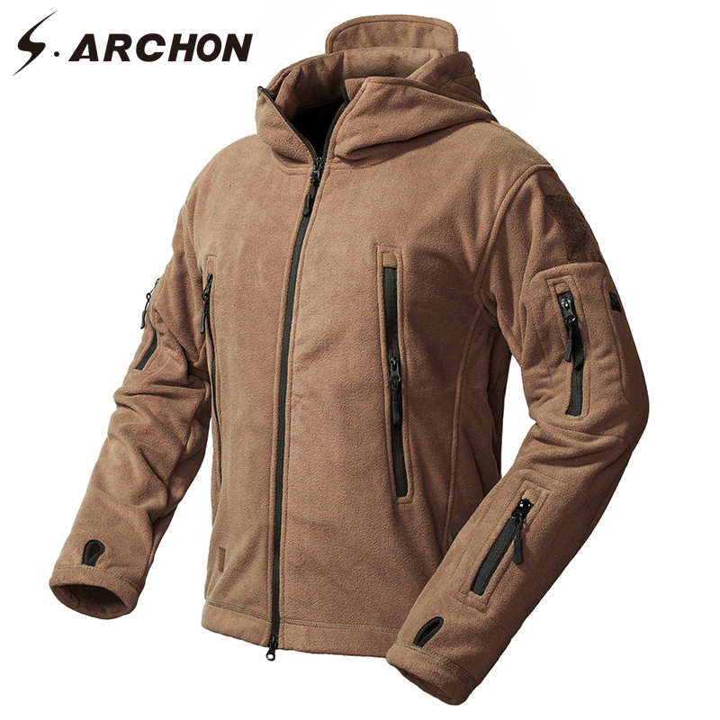 S.ARCHON Winter Windproof Military Fleece Jackets Men Warm Thicken Windbreaker Tactical Jacket Coat Hooded Thermal Army Clothes lurker shark skin soft shell v4 military tactical jacket men waterproof windproof warm coat camouflage hooded camo army clothing