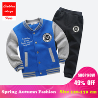 2018 Fashion Winter Boys Clothing Sets New Active Boys Clothing Sets Children Clothing Cartoon Print Baseball Sweatshirts+ Pants