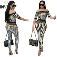 IMYSEN Summer Autumn Fashion Jumpsuit Women Romper Leopard Print Black White Stripe Jumpsuits Off Shoulder Short