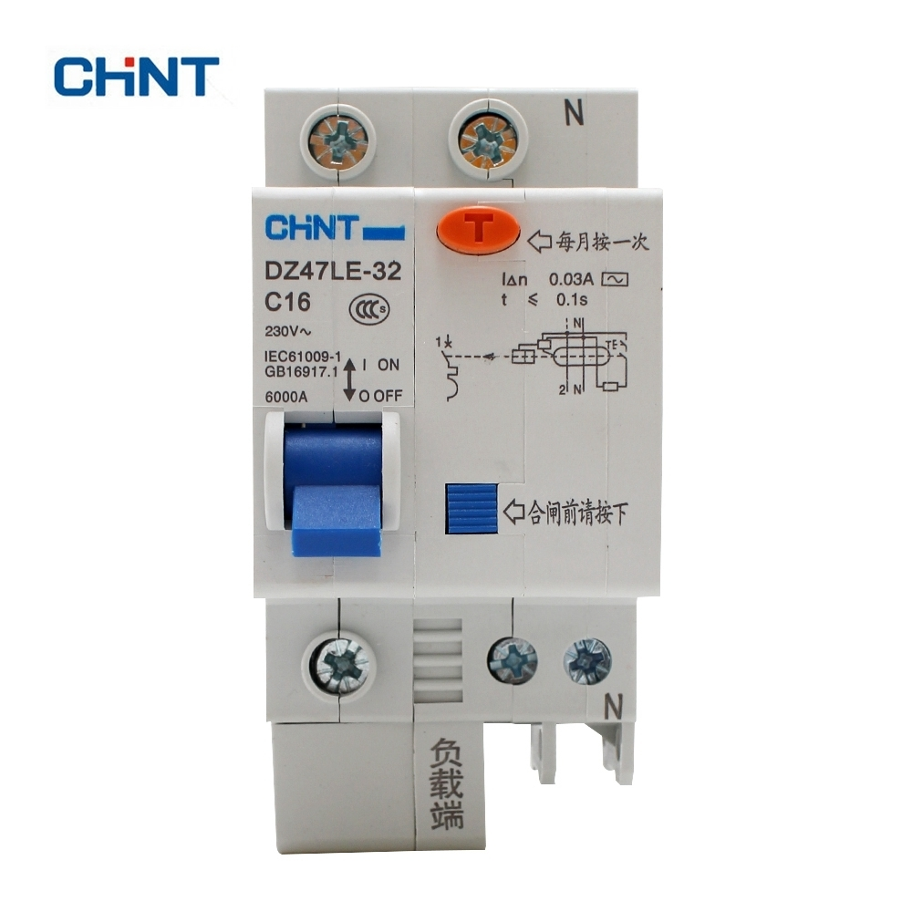 Chint Air Switch Circuit Breaker Dz47le 63 2p C40 32a 230v Din Rail Light 32 1p N C16 16a 3ka Household Earth Leakage Overload