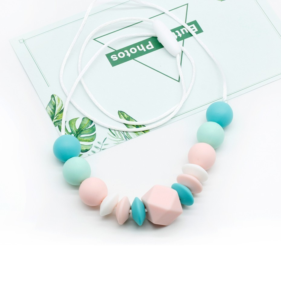 3 Colors Silicone Nursing Necklace Teether Silicone Beads Baby Chewable Toys Simple Jewelry For Mommy Baby Bijtring Baby Teether