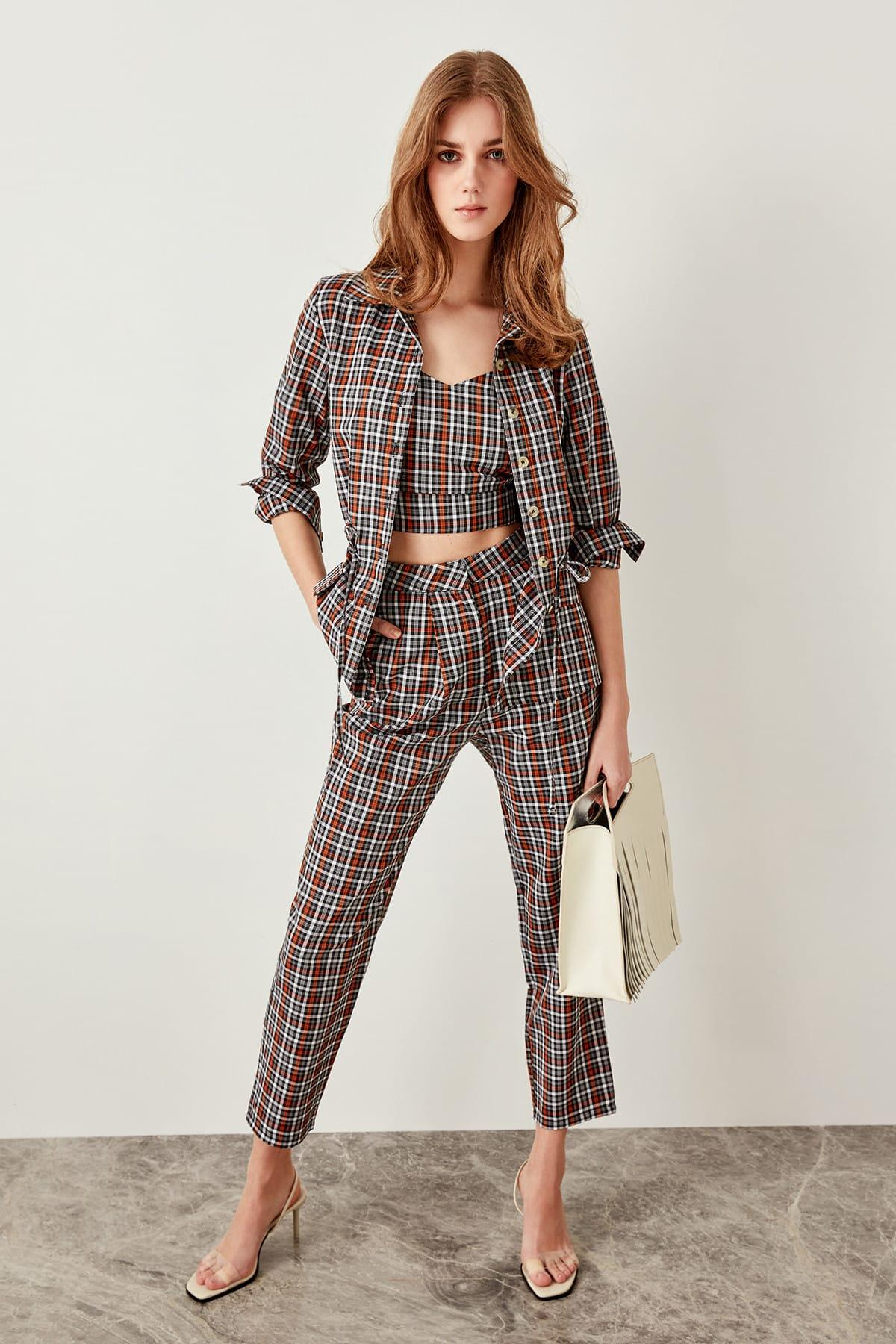 Trendyol Multicolour Plaid Pants TWOSS19EH0130