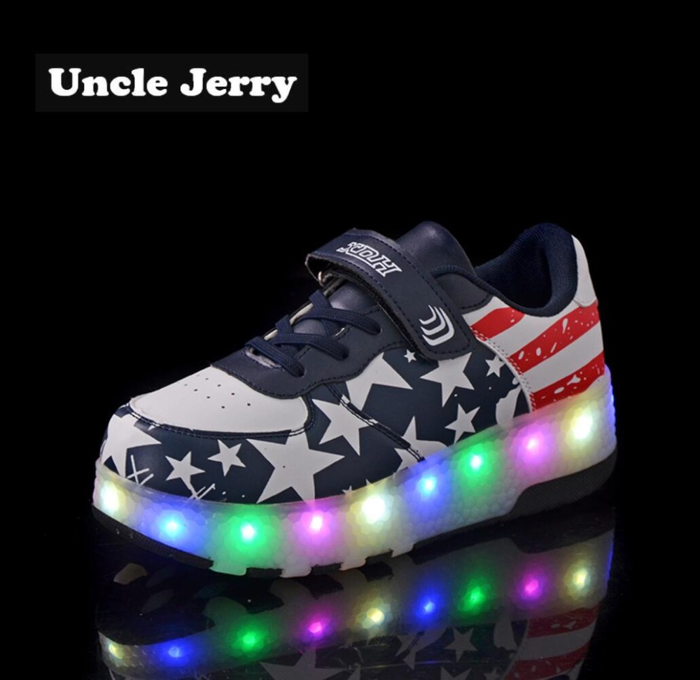 UncleJerry Size 27-43 Kids Led Shoes Light Up Sneakers for boys girls Luminous Shoes for big kids and youth Sport Sneakers joyyou brand usb children boys girls glowing luminous sneakers with light up led teenage kids shoes illuminate school footwear
