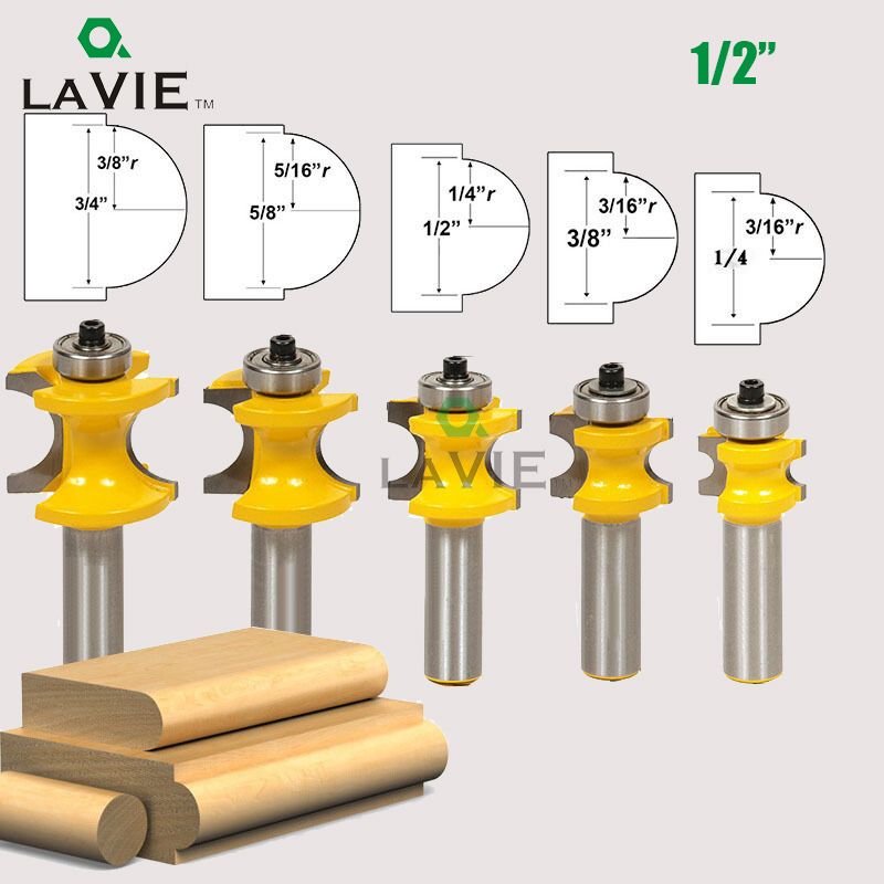 LA VIE 5 PCS 1/2 Shank Bullnose Half Round Bit Endmill Router Bits Wood 2 Flute Bearing Woodworking Tool Milling Cutter MC03009 1 2 shank bullnose bead column face molding router bit alloy woodworking cutter for wood milling machines power tool