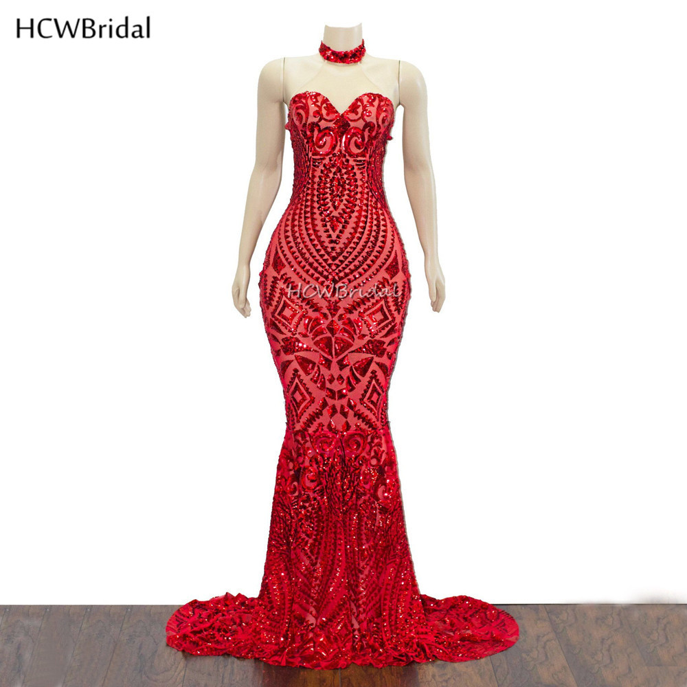 Amazing Red Mermaid Arabic   Evening     Dress   Sleeveless Sweep Train Long Special Occasion   Dresses   Custom Made 2019 New Arrival