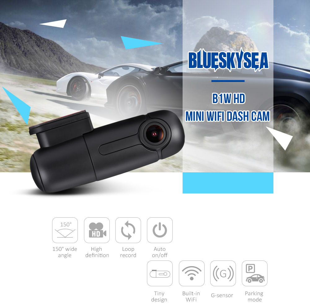 Blueskysea 1080P Capacitor B1W Vehicle Dashboard Recorder Black Box /& 2 Brackets