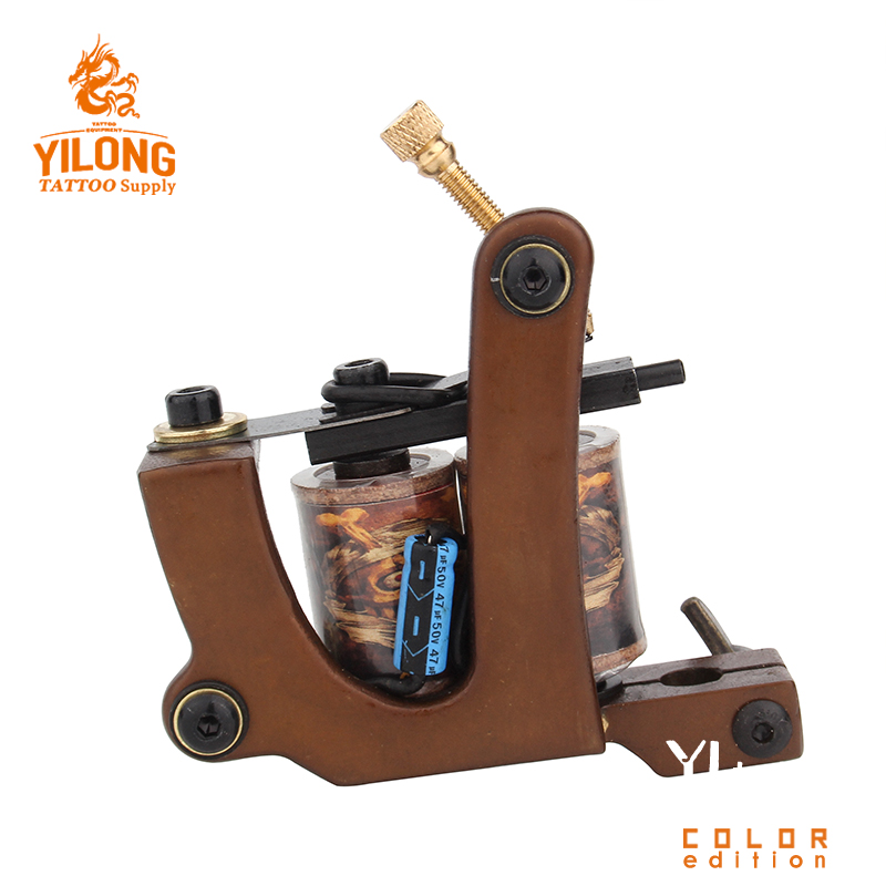Machine de tatouage faite main professionnelle 10 bobines d'enveloppe pistolet de tatouage fait sur commande de cadre de cuivre pour des fournitures de tatouage de Shader ou de revêtement