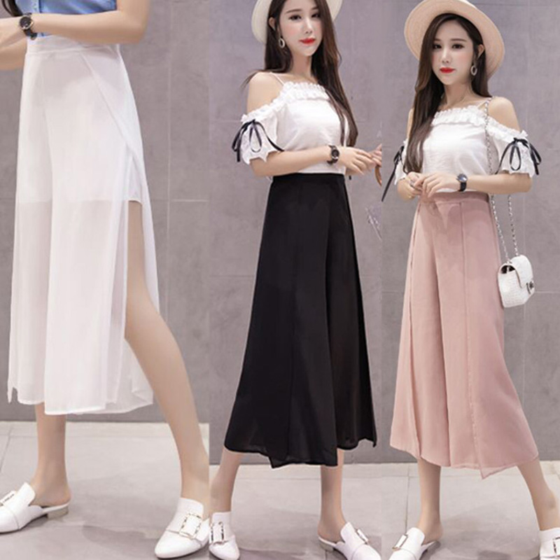 women New Chiffon open skirt   Wide     Leg     Pants   female girls summer retro broad-legged   pants   high Elastic Waist Ankle-Length   Pants