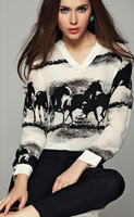 Free Shipping Leisure Hot Sale Round Collar Ink Horse Printed Long Sleeve Woman Chiffon Blouse