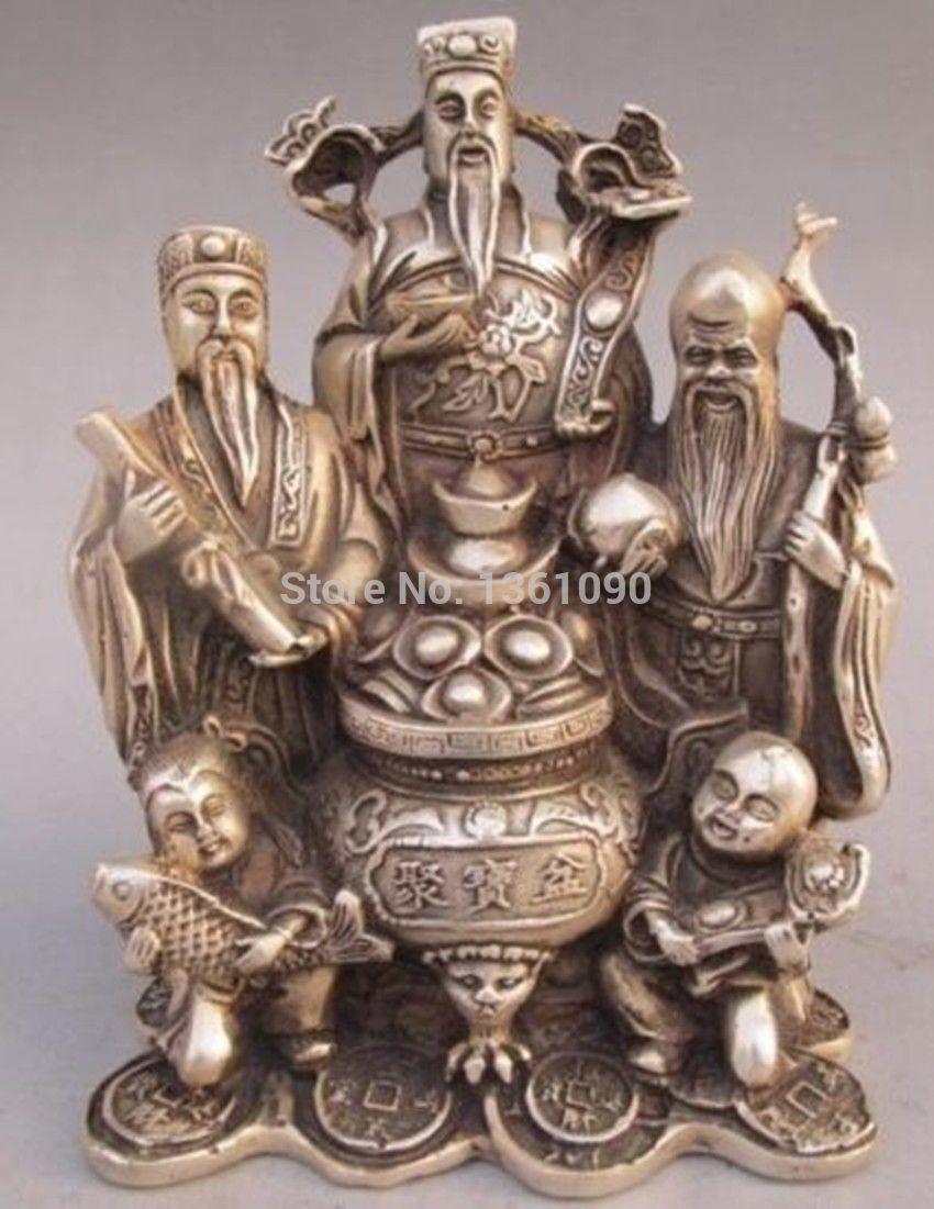 xd 00217 China Copper Silver RuYi Longevity Mammon God Fish Peach Treasure Basin Statue