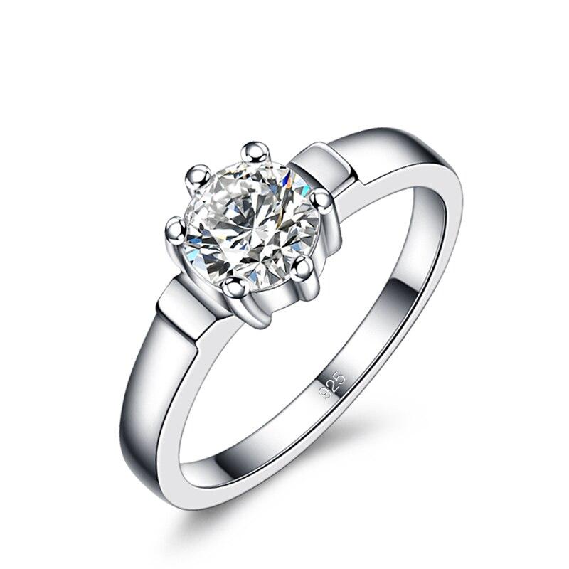 Echt 100% 925 Sterling Silber Ring Mode Dazzling 5a Zirkon Ring Klassische Frau Verlobungsring Schmuck Valentinstag Geschenk Aromatischer Charakter Und Angenehmer Geschmack