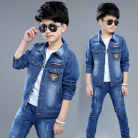 Boy Denim Jacket Children's Outer Clothing Cardigan 2018 Spring Fall New 4 14 Years Male Kids Patched Casual Coat Overcoat X19