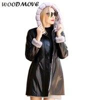 Новый Для женщин Натуральная Овечья кожаные пальто женские зимние теплые пальто с капюшоном Куртка Пальто Верхняя одежда натуральной дубл