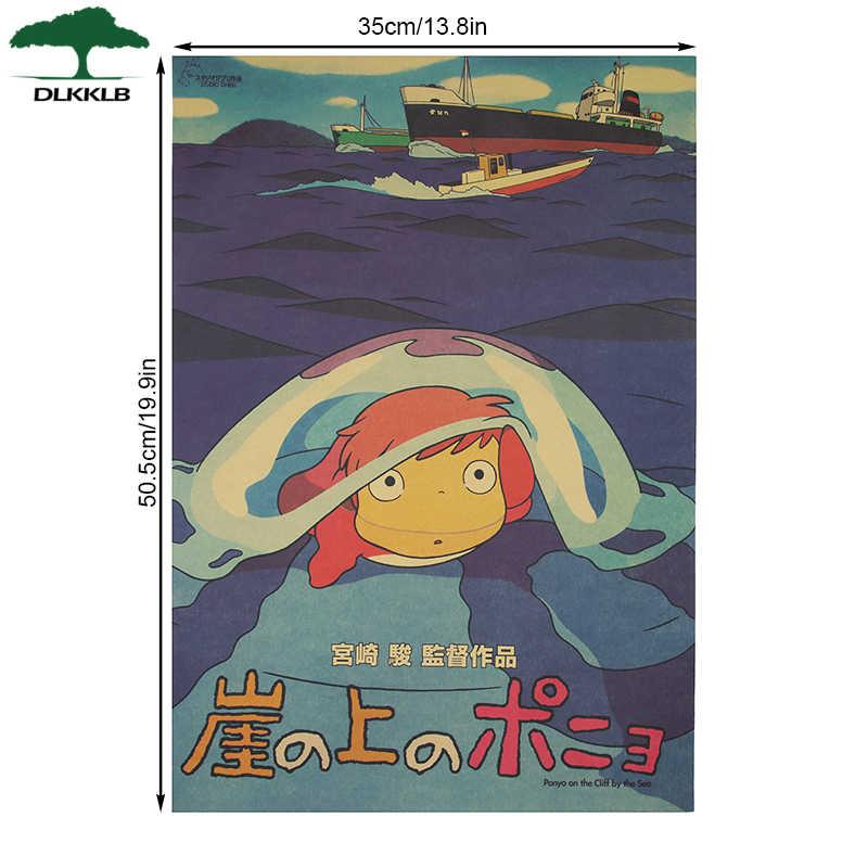 DLKKLB Ponyo On The Cliff Kraft Paper Classic Cartoon Film Poster Home Decor Wall Sticker 50.5x35cm Retro Decorative Painting