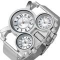 OULM SUPERVENTAS Reloj Hombre Militar de Cuarzo Reloj de Pulsera Para Hombre de acero Inoxidable Correa de metal De Malla 3 Time Zone Oversize DZ Reloj + caja