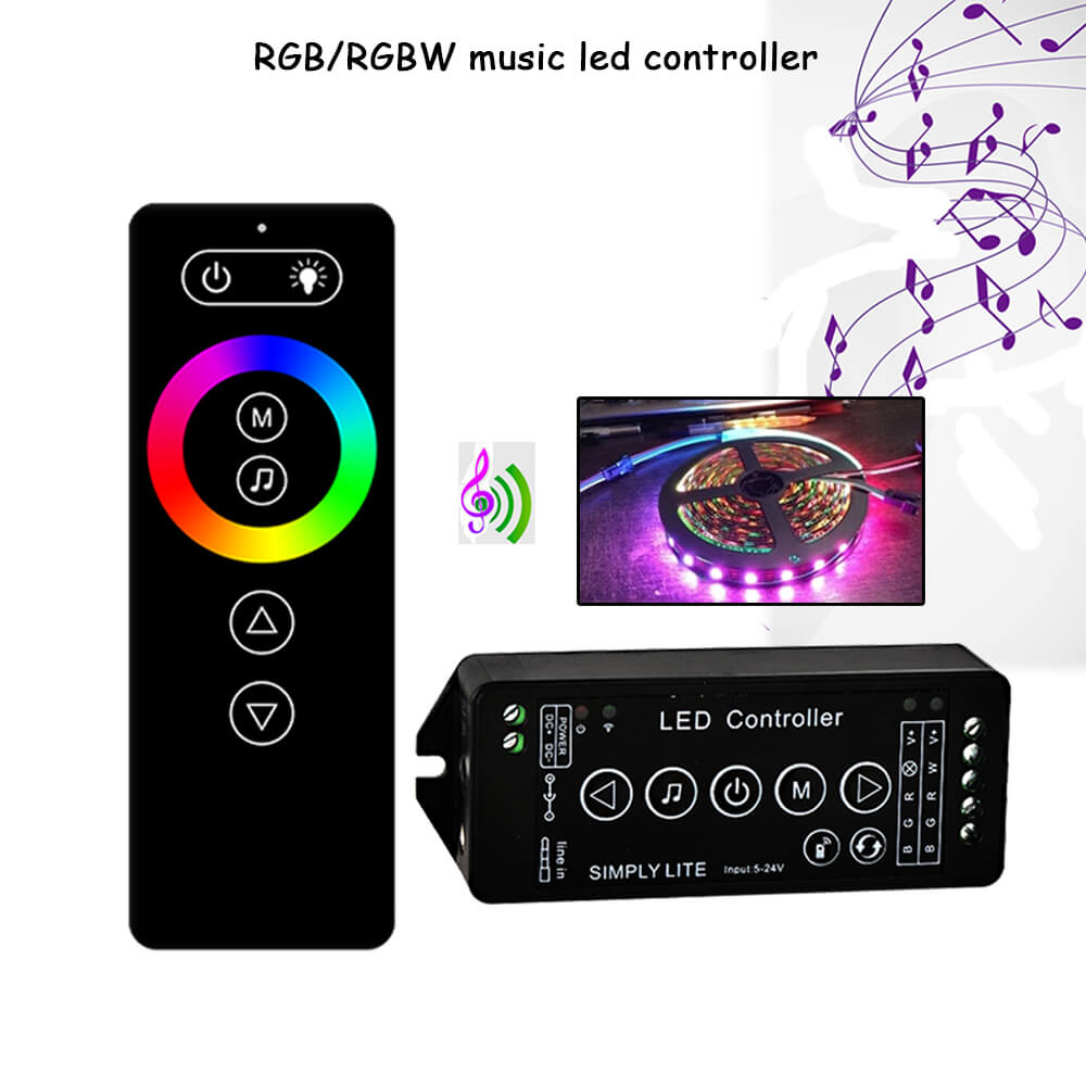 New music RF strip led controller music sound sensor 5-24V remote controller with Wall Mount Holder for all RGB/RGBW strip light laideyi rgb controllers light bar bluetooth led controller lights string music controller lighting controller 4 way 5 pin rgbw