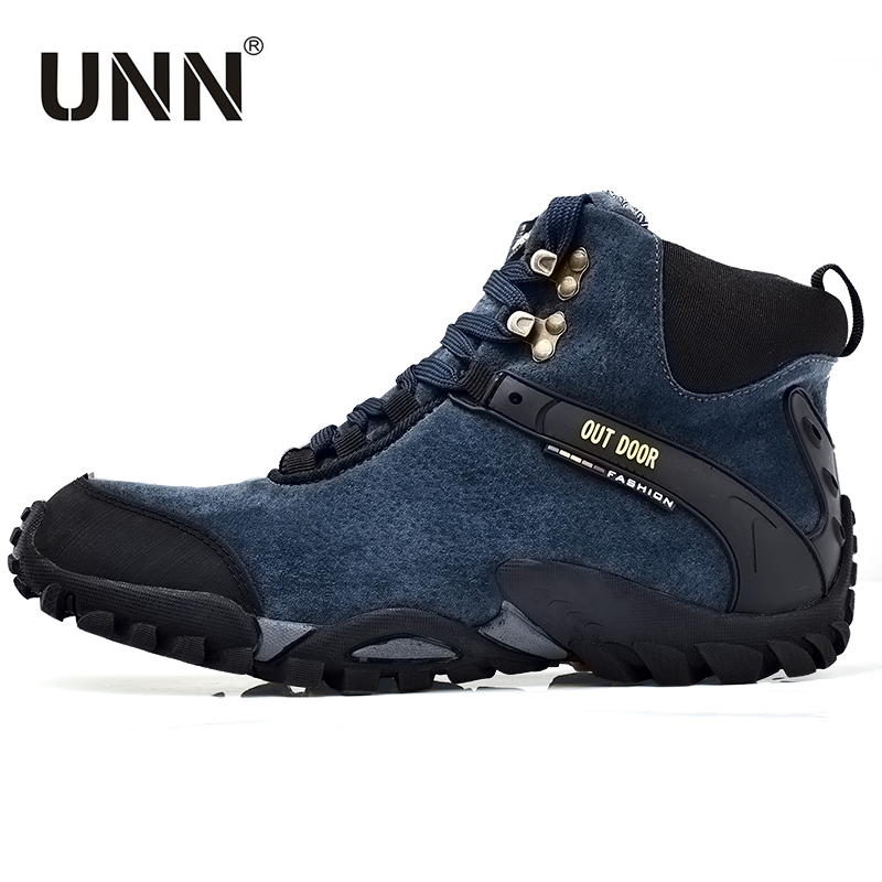 UNN High Outdoor Hiking Shoes Leather Waterproof Hunting Winter Sneakers Black Fabric Men Trekking Boots Blue Big Size 45 46 2016 men hiking outdoor winter camping shoes warm plush lining trekking hunting waterproof fish sneakers max size quality shoes
