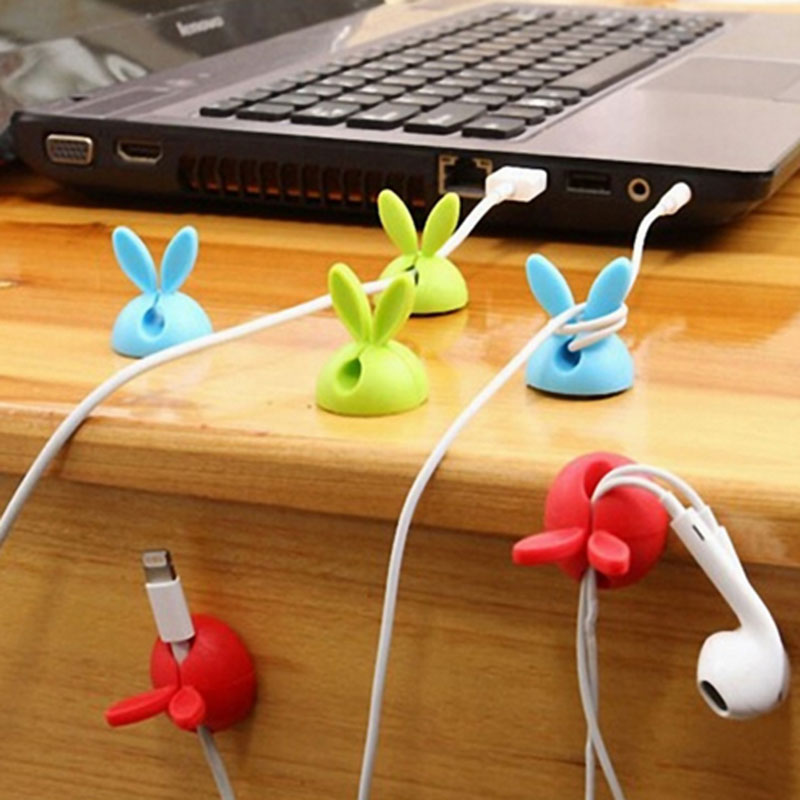 Digital Cables Cable Winder 4pcs Cute Rabbit Ears Cable Winder Collation Holder Bunny Charger Wire Cord Organizer Clip Tidy Desk Earphone Fixer Bobbin Clamp