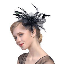Cocktail Party Headwear Artificial Feather Mesh Ribbons Handmade Vintage With Clip Wedding Fascinators Women Headband Flower Hat