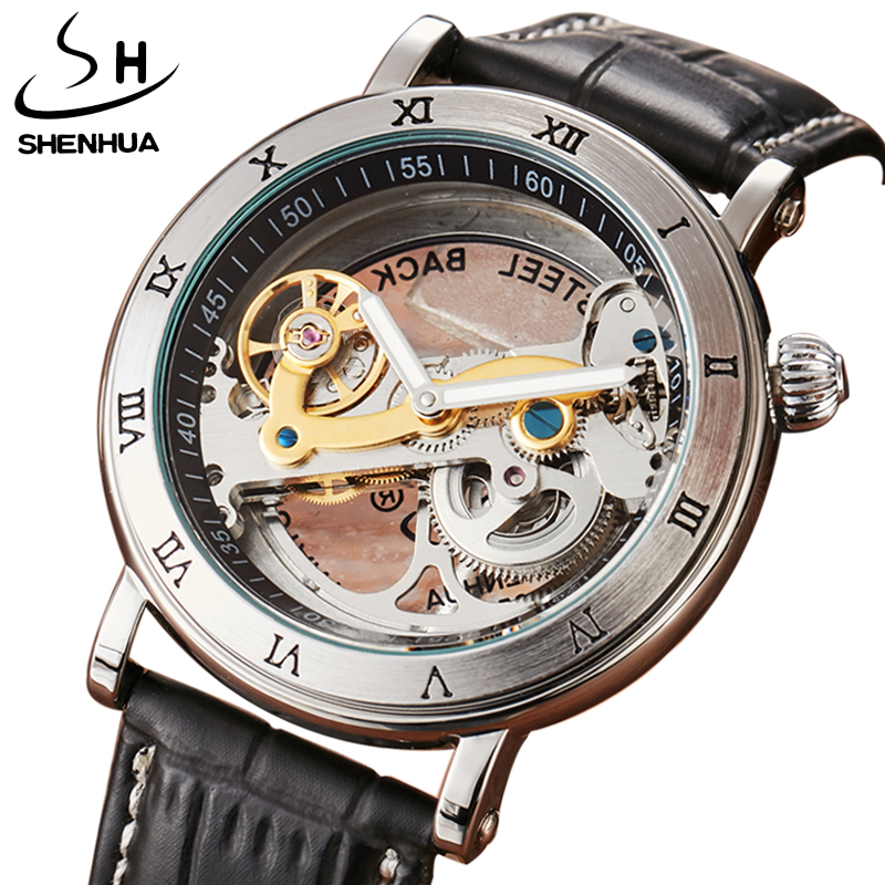 Men Automatic Watch Luxury Brand Roman Sculpture Dial Leather Band Mechanical Skeleton Transparent Leather Wristwatches Men Gift все цены