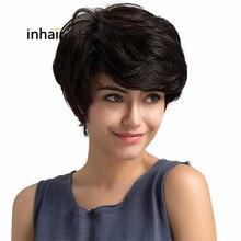 ESIN Смешанный женский парик 70% натуральных волос Женские короткие парики на легкой эластичной шапочке Многослойная короткая стильная стрижка,густая естественная челка Элегантная укладка естественными волнами