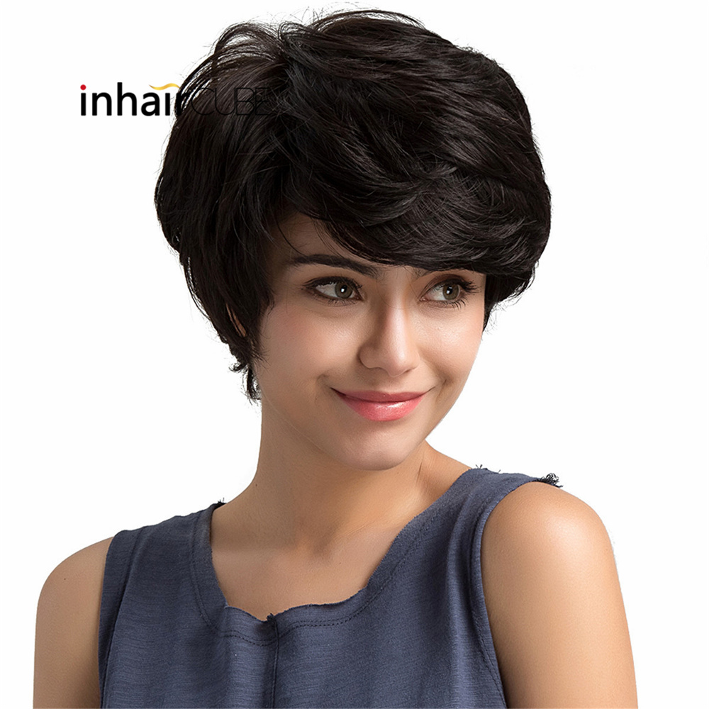 Inhair Cube Short Synthetic Wigs For Women Hand Made Natural Wave Fluffy Multi-layered Short Hair Wig With Bangs European Style