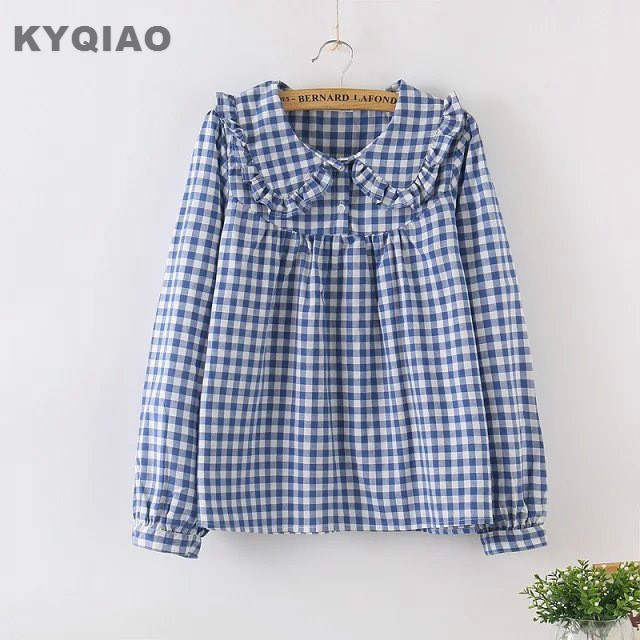 Blouses & Shirts Kyqiao Women Plaid Shirt 2019 Female Autumn Spring Japanese Style Turndown Collar Long Sleeve Lace Plaid Blouse Tops Blusa