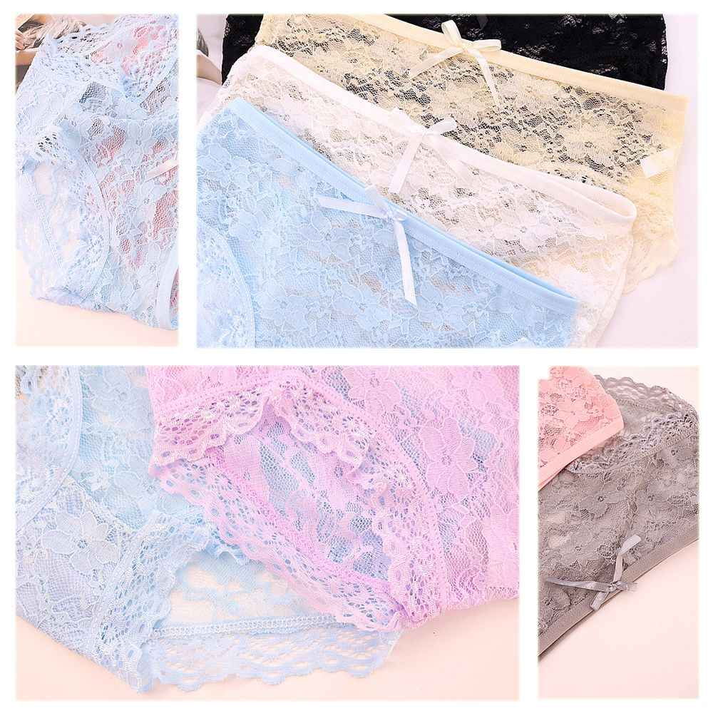 ... Bright Colors Transparent Pink Hollow Floral Bow Panties Summer  Breathable Low Waist Lace Cotton Crotch Women 6720500e7