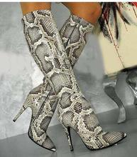 Hot Sexy Light gray /Creamy-White/Snake PU knee-High Shoe pointed Toe Thin Heels Women Butterfly-Know Big Size Womens Boot