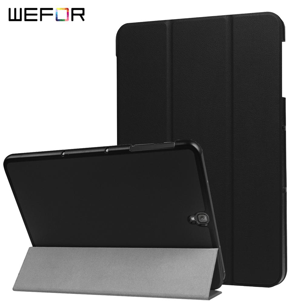 Case For Samsung Galaxy TAB S3 9.7 SM-T820/SM-825 ,WEFOR PU Leather+Ultra Slim Light Weight PC Back Cover Case Folding Stand аксессуар чехол samsung galaxy tab a 7 sm t285 sm t280 it baggage мультистенд black itssgta74 1