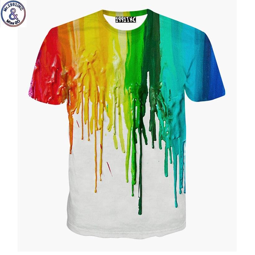 Mr.1991 marca nueva pintura salpicaduras 3D camiseta para niños o niñas de 6 a 20 años adolescentes gran niños camiseta niños A47