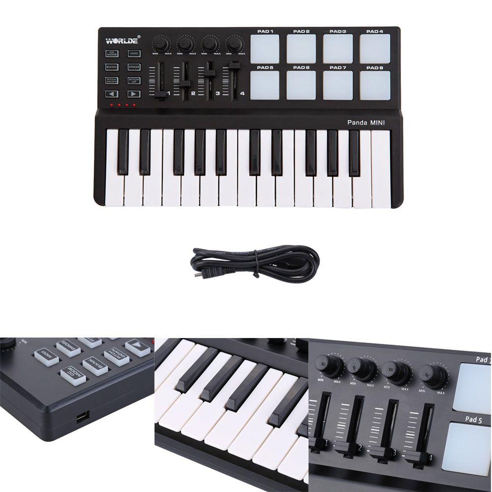 xfdz worlde panda midi keyboard 25 keys mini piano usb keyboard and drum pad midi controller in. Black Bedroom Furniture Sets. Home Design Ideas