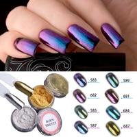 1g/box Shiny Mirror Glitter Nail Powder Gold Sliver Glitter Chameleon Powder Nail Art Chrome Pigment Glitters Dust 10 Colors