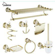 Античный Золотой латунный полированный набор аксессуаров для ванной комнаты набор хрустальных аксессуаров для ванной комнаты Er1 прозрачный кристалл делает ванную роскошь