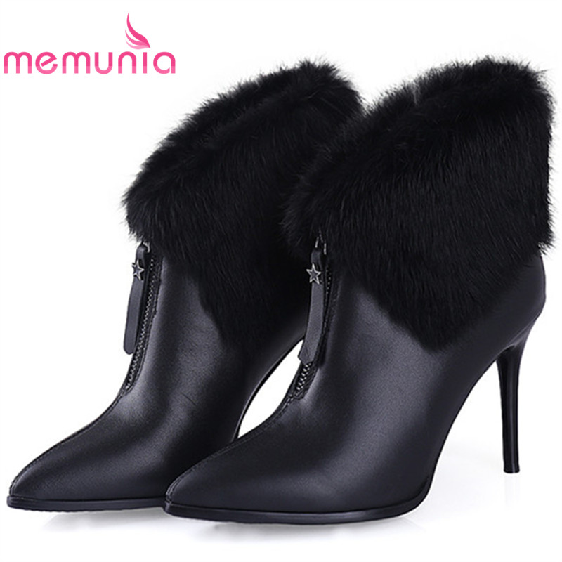 MEMUNIA Plus size 34-40 early winter womens boots fashion elegant party shoes woman ankle boots zip solid genuine leather boots memunia solid two colors ankle boots for women winter boots low square heels zip fashion contracted boots party shoes