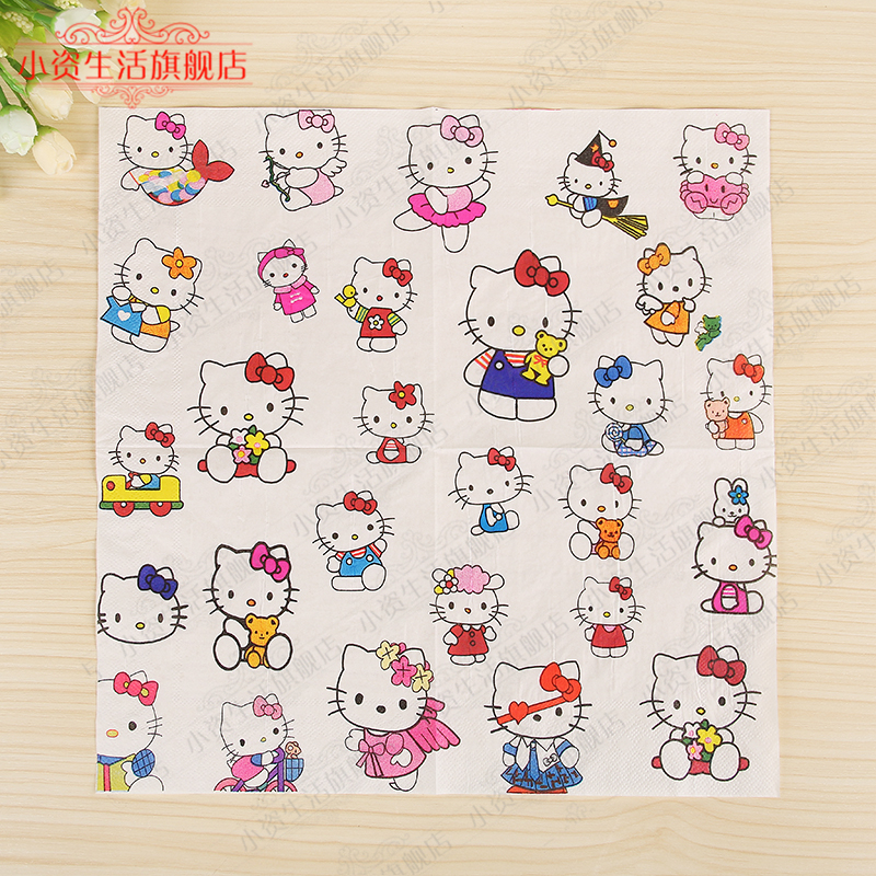 New Cute Lovely Hello Kitty Cat Paper Napkins Cafe&Party Tissue Napkins Decoupage Decoration Paper 33cm*33cm 20pcs/pack/lot