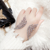 UILZ Crystal Wings Shaped Jewelry AAA Cubic Zirconia Fashion Baguette Bracelet Cuff Bangle For Women Gift UB2011