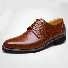 Classic Business Casual Shoes Alligator Crocodile Style Men Dress Shoes Luxury Brown Leather Party Social Shoes Flats(China)