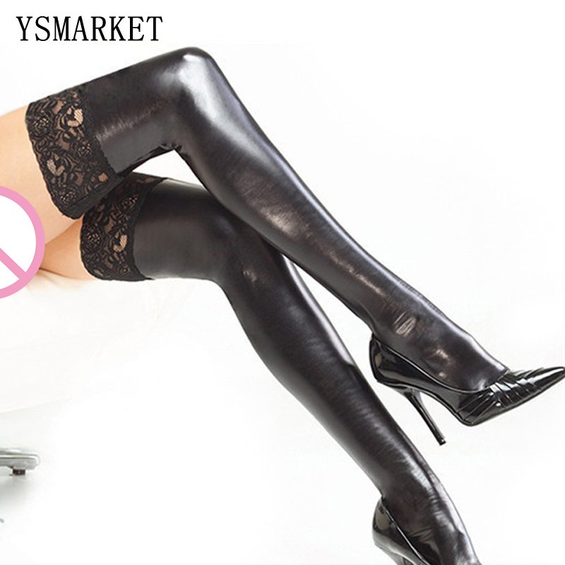 Faux Stockings with Black Lace See Through Tops Latex Look Leggings