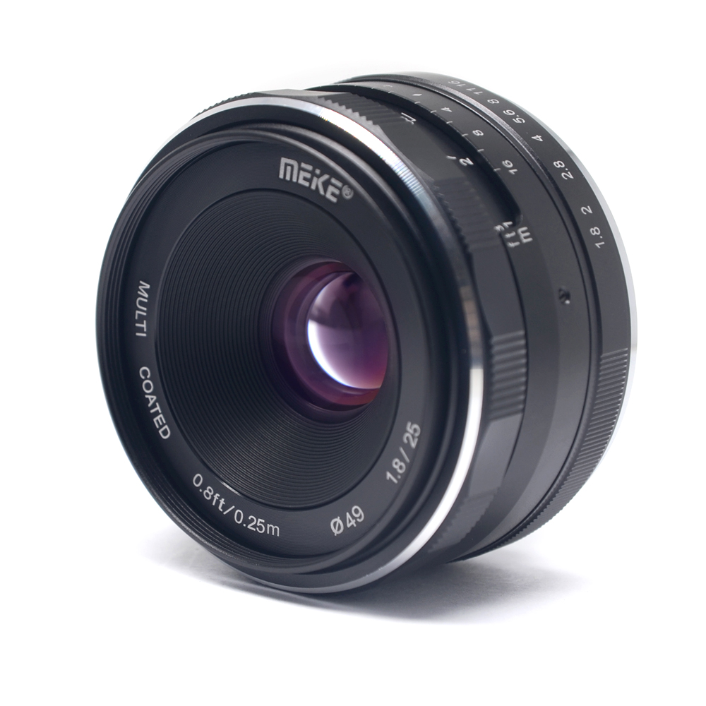Meike 25mm f/1.8 Large Aperture Wide Angle Lens Manual Focus Lens for Panasonic Olympus M4/3-mount Mirrorless Cameras with APS-C meike 12mm f 2 8 wide angle fixed lens with removeable hood for panasonic olympus mirrorless camera mft m4 3 mount with aps c