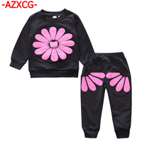 Baby Girls Clothing Sets Flower Print 2018 Spring Autumn Children S Sweater Cotton Casual Tracksuits Kids