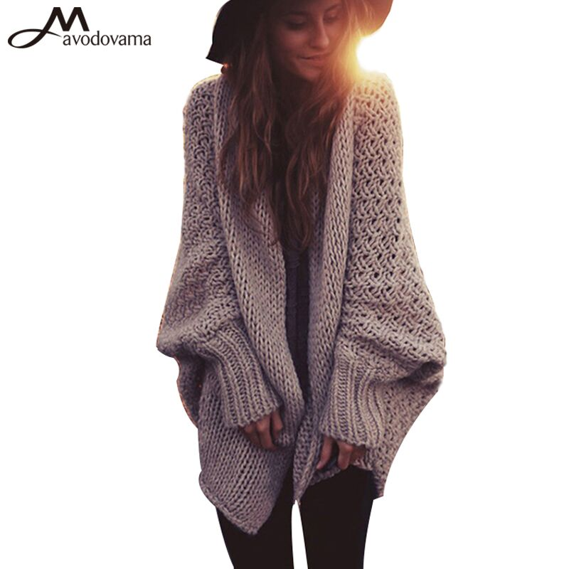 AVODOVAMA M 2017 Winter New Fashion Women Cardigans Bow Loose Knitted Open Stitch Long Sleeve Lady Sweaters Solid