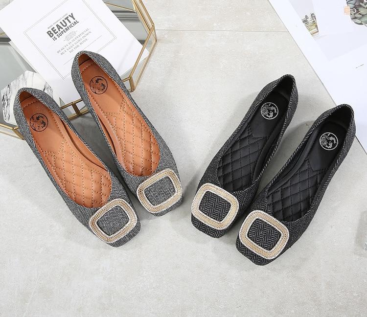 De Peu on Noir Profonde Pompes Dames Slip Casual Talon En Métal Solide Simples Femmes Bout Chaussures Avec Décoration Faible Boucle Carré gris Base qgxtwZ48