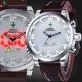 Homens Relógio Do Esporte Multifunções LED Digital À Prova D' Água Genuíno Couro relógio de Pulso Masculino 2016 Hodinky Men Quartz Sport Watch LCD