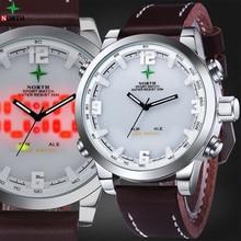LED Digital Men Sport Watch Multifunction Waterproof Genuine Leather Male Wristwatch 2016 Hodinky Men Quartz Sport Watch LCD