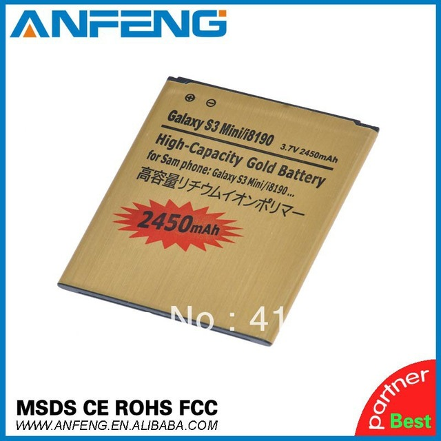 2450mah GOLD High Capacity Battery For Samsung Galaxy S3 III mini I8190 Galaxy S Duos S7562 Singapore Post Free 2pcs/lot